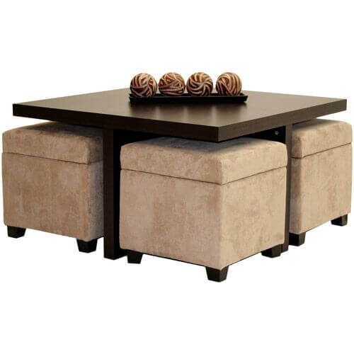 Coffee Table Meja Kopi dengan Bangku Ottoman