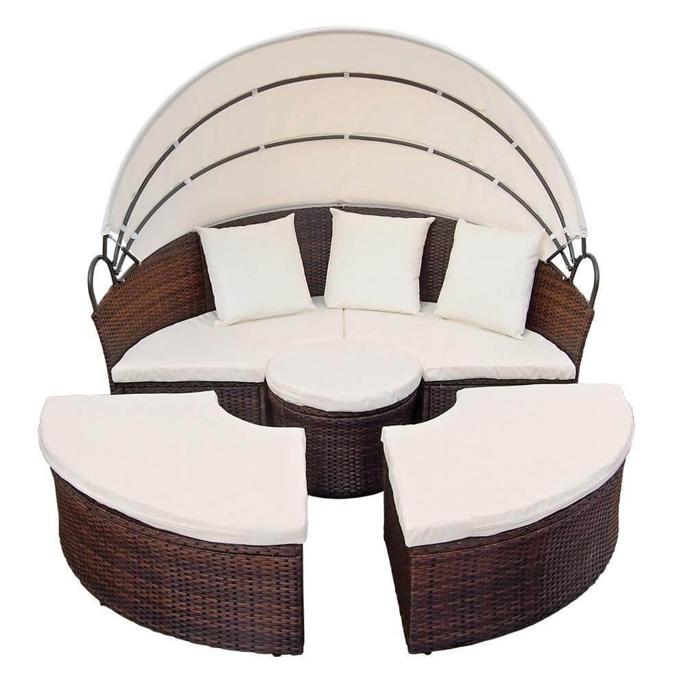 Dipan bundar Set dengan kanopi Outdoor dengan Set Furniture Rotan